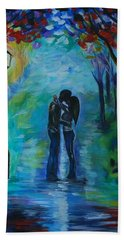 Beach Towel featuring the painting Moonlight Kiss by Leslie Allen