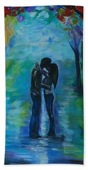 Beach Towel featuring the painting Moonlight Kiss Series 1 by Leslie Allen