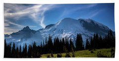 Beach Towel featuring the photograph Moonlight On Mt Rainier by Rob Green