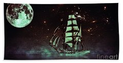 Moonlight Sailing Beach Towel