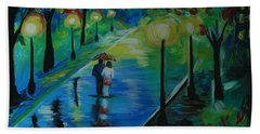 Beach Towel featuring the painting Moonlight Stroll by Leslie Allen