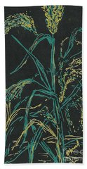 Beach Towel featuring the mixed media Moonlight Wheat by Vicki  Housel