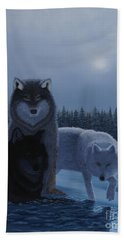 Beach Towel featuring the painting Moonlight Wolves by Stanza Widen