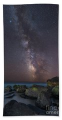 Moonlit Beach Milky Way 8x12 Beach Towel