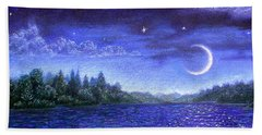 Moonlit Lake Beach Towel