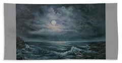Beach Towel featuring the painting Moonlit Seascape by Katalin Luczay