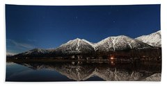 Moonlit Mountain Reflections In The Valley Beach Towel