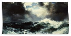 Moonlit Shipwreck At Sea Beach Towel