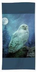 Moonlit Snowy Owl Beach Towel