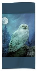 Moonlit Snowy Owl Beach Sheet