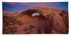 Beach Towel featuring the photograph Moonrise Arch by Edgars Erglis