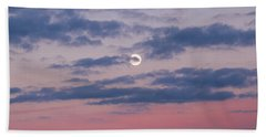 Moonrise In Pink Sky Beach Sheet
