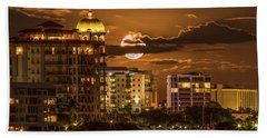 Moonrise Over Sarasota Beach Towel