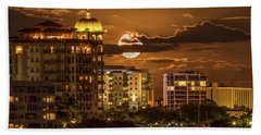 Moonrise Over Sarasota Beach Towel