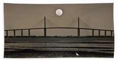 Moonrise Over Skyway Bridge Beach Towel