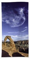 Moonset Delicate Arch Beach Sheet