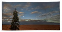 Moonset  In A Large Morning Sky Beach Towel