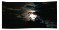 Moonset In The Clouds 2 Beach Towel