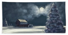 Beach Towel featuring the digital art Moonshine On The Snow by Lois Bryan