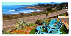 Beach Towel featuring the photograph Moonstone Beach Seat With A View Digital Painting by Barbara Snyder