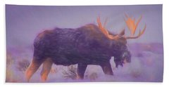 Moose In A Blizzard Beach Towel