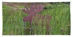 Beach Towel featuring the photograph Moose In Bulrushes by Sue Smith