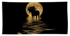 Moose In The Moonlight Beach Towel