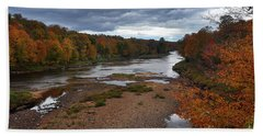 Beach Towel featuring the photograph Moose River Autumn by Diane E Berry