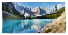 Moraine Lake At Banff National Park Beach Sheet by Lanjee Chee