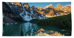 Moraine Lake Golden Alpenglow Reflection Beach Towel