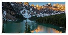 Moraine Lake Golden Sunrise Reflection Beach Sheet