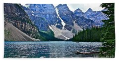 Moraine Lake In Color Beach Sheet by Linda Bianic