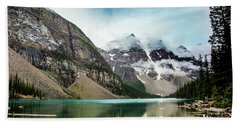 Moraine Lake In The Rain Beach Towel