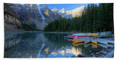 Moraine Lake Sunrise Blue Skies Canoes Beach Towel