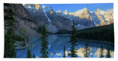 Moraine Lake Sunrise Blue Skies Beach Towel