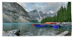 Moraine Logs And Canoes Beach Towel