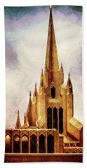 Mormon Temple Steeple Beach Towel by Joseph Hollingsworth