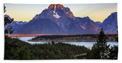 Beach Towel featuring the photograph Morning At Mt. Moran by David Chandler