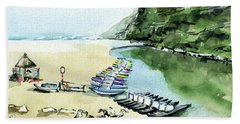 Beach Towel featuring the painting Morning At Porto Novo Beach by Dora Hathazi Mendes