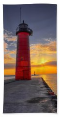 Morning At The Kenosha Lighthouse Beach Towel