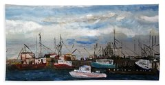 Beach Towel featuring the painting Morning At The Wharf by Michael Helfen