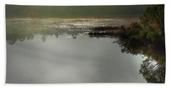 Morning Autumn Mist On Baker Pond Beach Sheet by Nancy Griswold