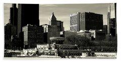Morning Dog Walk - City Of Chicago Beach Sheet
