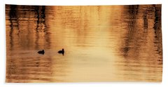 Beach Sheet featuring the photograph Morning Ducks 2017 Square by Bill Wakeley