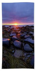 Beach Towel featuring the photograph Morning Fire, Sunrise On The New Hampshire Seacoast  by Jeff Sinon