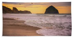 Beach Towel featuring the photograph Morning Flight Over Cape Kiwanda by Darren White