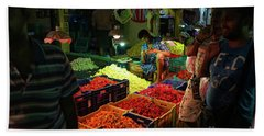 Beach Towel featuring the photograph Morning Flower Market Colors by Mike Reid
