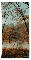 Morning Fog At The River Beach Sheet by Iris Greenwell