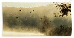 Morning Fog On Haley Pond In Rangeley Maine Beach Towel