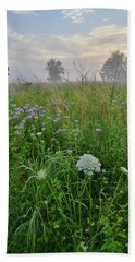 Morning Fog Over Glacial Park Prairie Beach Towel
